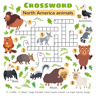 Krzyżówka zwierząt ameryki północnej. dla arkusza aktywności dzieci w wieku przedszkolnym. dzieci przekraczające łamigłówkę wyszukiwania słów