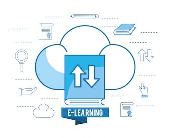 Książka edukacji z obciążenia chmury i ołówek