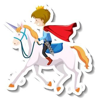 Książę jeżdżący na koniu kreskówka naklejka