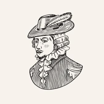 Książę lub antyczny wiktoriański mężczyzna w kapeluszu z piór. grawerowane ręcznie rysowane szkic vintage. styl drzeworyt. ilustracja