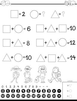 Książeczka do kolorowania kalkulacyjnych gier edukacyjnych