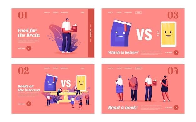 Książka a zestaw szablonów strony docelowej telefonu. małe postacie czytające na ogromnej wadze. innowacyjne technologie w edukacji, literatura, cyfrowe urządzenie do czytania książek. ilustracja wektorowa kreskówka ludzie