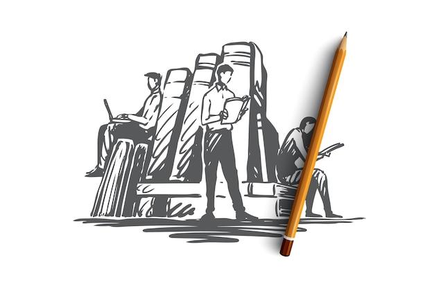 Książka, biblioteka, edukacja, literatura, pojęcie wiedzy. ręcznie rysowane ludzi czytających książki w szkicu koncepcji biblioteki. ilustracja.