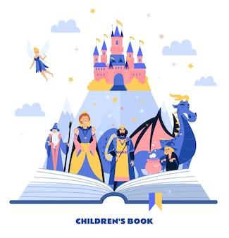 Książka dla dzieci ilustracja z postaciami z bajek na średniowiecznym zamku