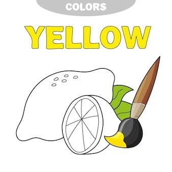 Książka do kolorowania dla dzieci w wieku przedszkolnym z konturami cytryny - żółty - poznaj kolor. ilustracja wektorowa dla edukacji dzieci.