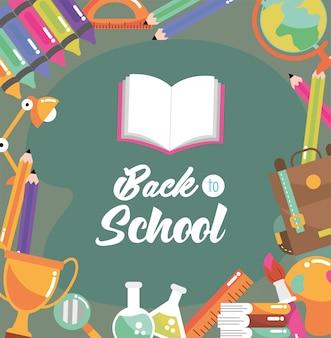 Książka edukacyjna z plecakiem i ołówkiem w kolorach