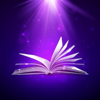 Książka fantasy z magicznym światłem i błyskami