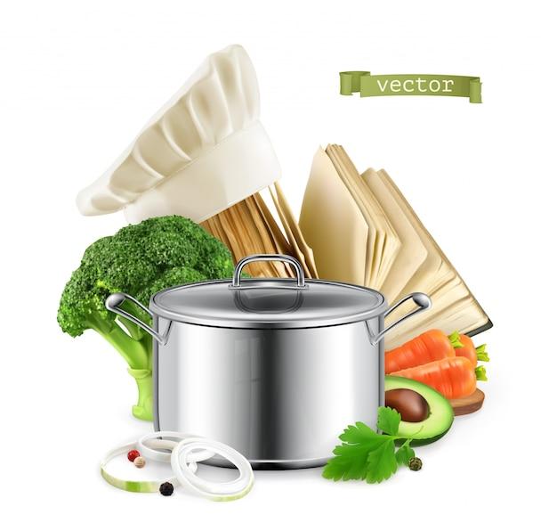 Książka kucharska, gotowanie. 3d realistyczna karmowa ilustracja