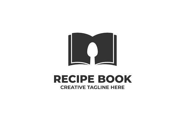 Książka kucharska logo negatywnej przestrzeni