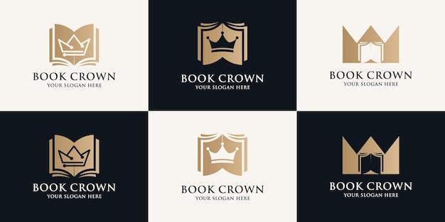 Książka logo inspiracji korony dla symbolu edukacyjnego