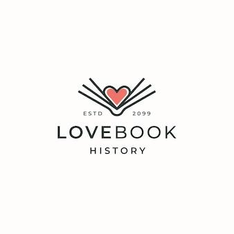 Książka lovers logo ikona szablon projektu płaskie wektor
