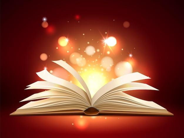 Książka mistyczne światło. realistyczne otwarte magiczne strony z błyszczącymi i świecącymi cząsteczkami, bajką, literaturą edukacyjną i rozrywkową, cudowną historią, banerem lub plakatem szablon wektor na białym tle koncepcja