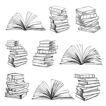 Książka wektorhand rysowana ilustracja w stylu szkicu