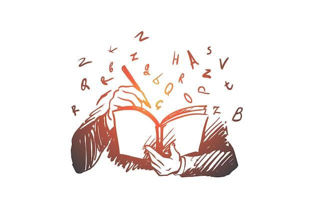 Książka, wiedza, student, przeczytaj, koncepcja listów. ręcznie rysowane osoba czytająca książkę szkic koncepcji.