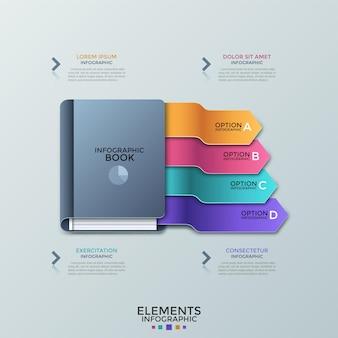 Książka z 4 kolorowymi zakładkami lub spiczastymi wstążkami i polami tekstowymi. koncepcja czterech kroków efektywnej nauki i edukacji. szablon projektu kreatywnych plansza. ilustracja wektorowa do prezentacji.