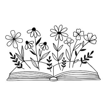 Książka z kwiatami zarys rysowania linii wektor ilustracja izolowany na białym tle