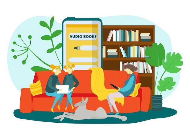 Książki audio do edukacji domowej ilustracji wektorowych matka córki dziewczyna charakter słuchać dźwięku onli...