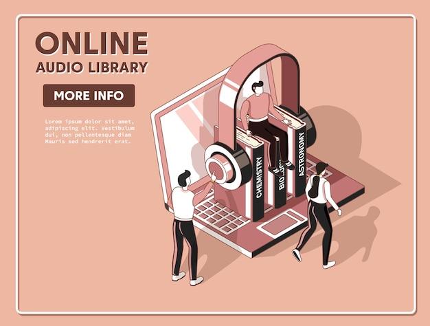 Książki audio płaska koncepcja izometrycznej biblioteki elektronicznej 3d
