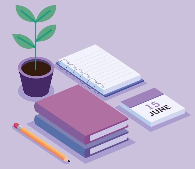 Książki i kalendarz z izometrycznym obszarem roboczym rośliny doniczkowej zestaw ikon ilustracja projekt