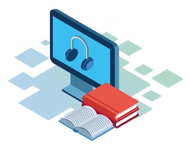 Książki i komputer ze słuchawkami na ekranie na białym tle, kolorowe izometryczny