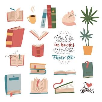 Książki i zestaw elementów do czytania. stos książek, podręczników, słodkiego kota, rośliny doniczkowej, filiżanki. pakiet ozdobny projekt z cytatami napis na białym tle. ilustracja wektorowa płaski kreskówka.