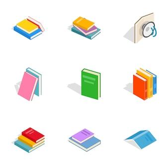 Książki ikony, izometryczny styl 3d