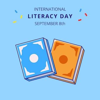 Książki ilustracja kreskówka obchody międzynarodowego dnia alfabetyzacji.