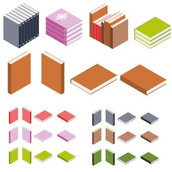 Książki izometryczne. stosy książek. książki w różnych kolorach. ikona edukacji. logo książki 3d. biblioteka wiedzy. ilustracja wektorowa.