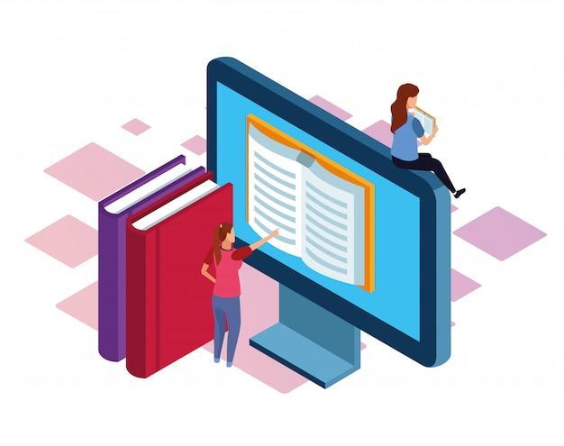 Książki, komputer i kobiety na białym tle, kolorowe izometryczny