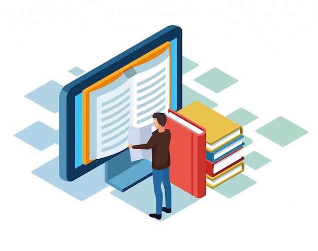 Książki, komputer i mężczyzna stojący na białym tle, kolorowe izometryczny