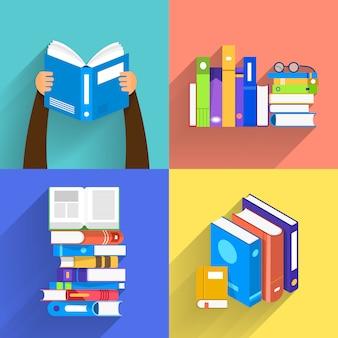 Książki koncepcyjne. edukacja i nauka z książkami. zilustrować.
