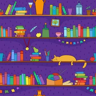 Książki, kotki i inne rzeczy na półkach. wzór.