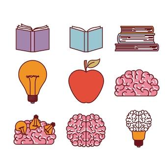 Książki mózgu żarówki i jabłko sylwetki zestaw