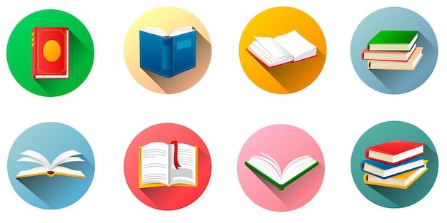 Książki na białym tle zestaw okrągłych etykiet