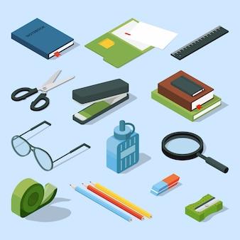 Książki, papierowe dokumenty w folderach i inne podstawowe elementy stacjonarne.