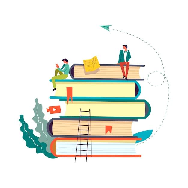 Książki ustawione z ludźmi czytającymi i pobierającymi informacje