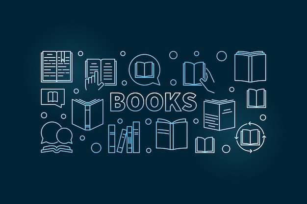 Książki wektor zarys poziomy niebieski ilustracja