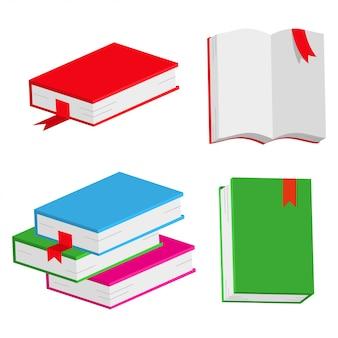 Książki wektor zestaw prosty kreskówka na białym tle.