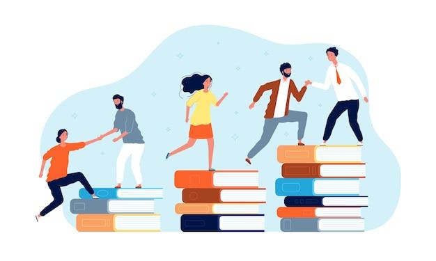 Książki wspinaczkowe. ludzie w bibliotece idą na szczyt. koncepcja edukacji. najlepsza edukacja książkowa, sukces wiedzy, wspinaczka studencka ilustracji