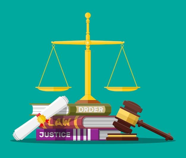 Książki z kodami prawnymi, waga sprawiedliwości i ilustracja młotek sędziowski