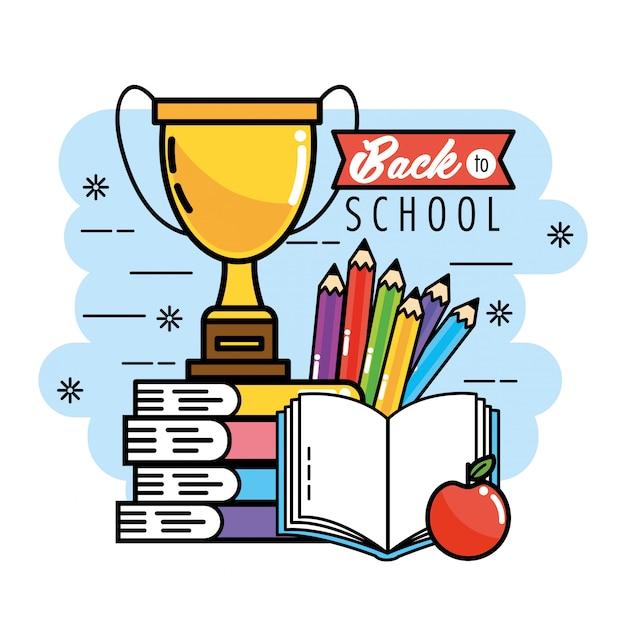 Książki z kolorami jabłek i ołówków, aby wrócić do szkoły
