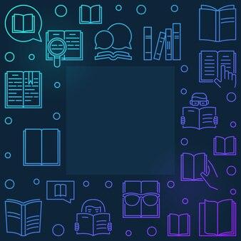 Książkowej biblioteki konturu kolorowa rama - wektorowa liniowa ilustracja