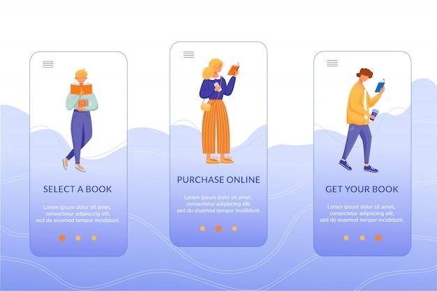 Księgarnia internetowa onboarding aplikacji mobilnej ekran wektor szablon