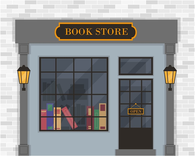 Księgarnia zewnętrzna lub fasada księgarni.