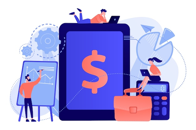 Księgowi pracują z oprogramowaniem i tabletem do obsługi transakcji finansowych. księgowość przedsiębiorstwa, system księgowy it, ilustracja koncepcji inteligentnych narzędzi przedsiębiorstwa