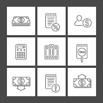 Księgowość, finanse, ikony kwadratowych linii, wektor