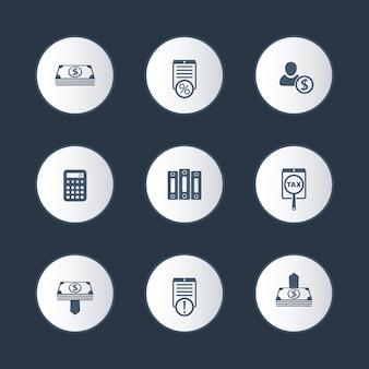 Księgowość, finanse, zestaw ikon okrągłych pieniędzy