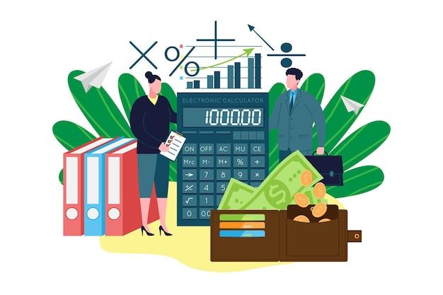 Księgowość, podatki. płaskie małe osoby obliczenia matematyczne. obliczanie finansów firmy i podatków. raport zarządzania pieniędzmi i usługa przetwarzania płatności. sprawdzenie analizy salda. ilustracja wektorowa.