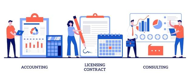 Księgowość, umowa licencyjna, koncepcja konsultacji z ilustracjami małych ludzi