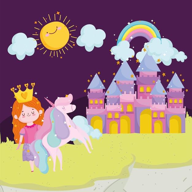 Księżniczka bajka jednorożec zamek tęcza słońce chmury niebo kreskówka wektor ilustracja